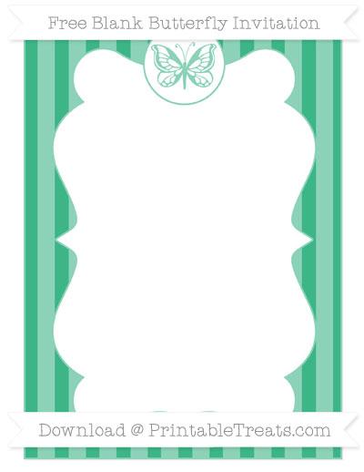 Free Mint Green Striped Blank Butterfly Invitation