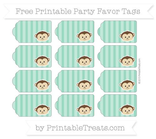 Free Mint Green Striped Boy Monkey Party Favor Tags