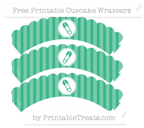 Free Mint Green Striped Diaper Pin Scalloped Cupcake Wrappers