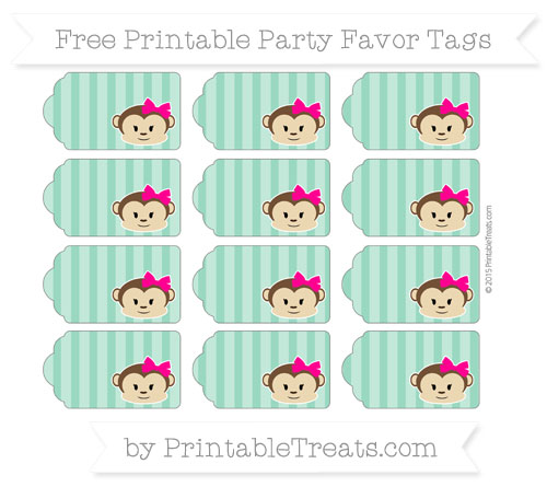 Free Mint Green Striped Girl Monkey Party Favor Tags