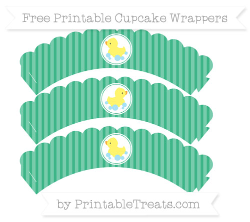 Free Mint Green Thin Striped Pattern Baby Duck Scalloped Cupcake Wrappers
