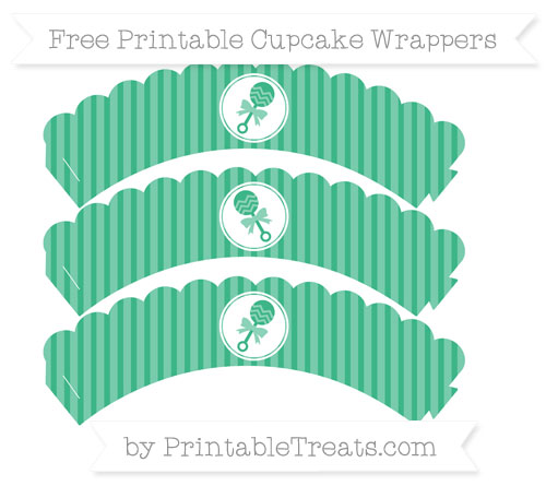 Free Mint Green Thin Striped Pattern Baby Rattle Scalloped Cupcake Wrappers