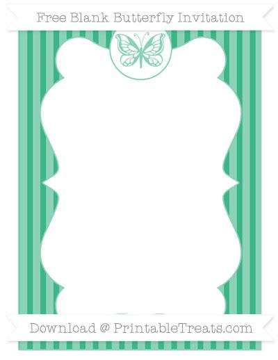 Free Mint Green Thin Striped Pattern Blank Butterfly Invitation