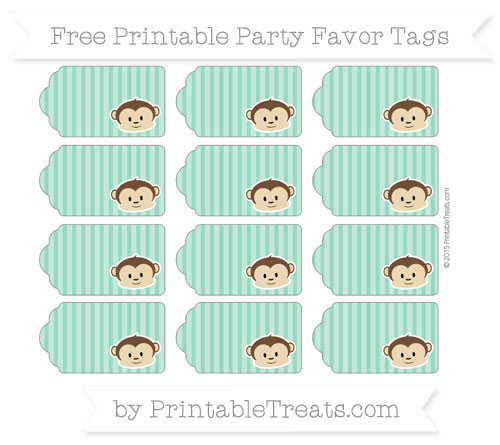 Free Mint Green Thin Striped Pattern Boy Monkey Party Favor Tags