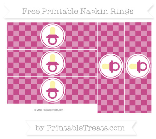 Free Mulberry Purple Checker Pattern Baby Pacifier Napkin Rings