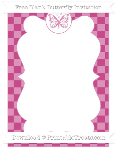 Free Mulberry Purple Checker Pattern Blank Butterfly Invitation
