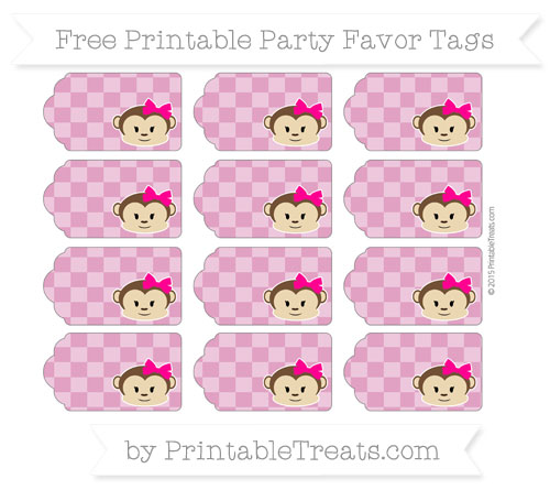Free Mulberry Purple Checker Pattern Girl Monkey Party Favor Tags