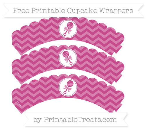 Free Mulberry Purple Chevron Baby Rattle Scalloped Cupcake Wrappers