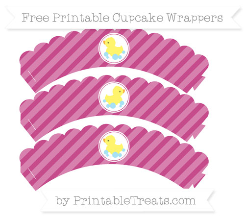 Free Mulberry Purple Diagonal Striped Baby Duck Scalloped Cupcake Wrappers