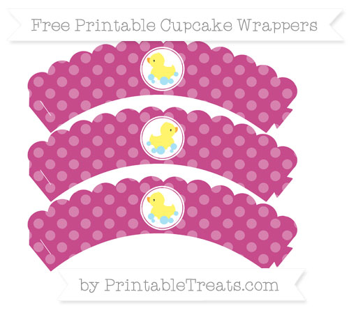 Free Mulberry Purple Dotted Pattern Baby Duck Scalloped Cupcake Wrappers