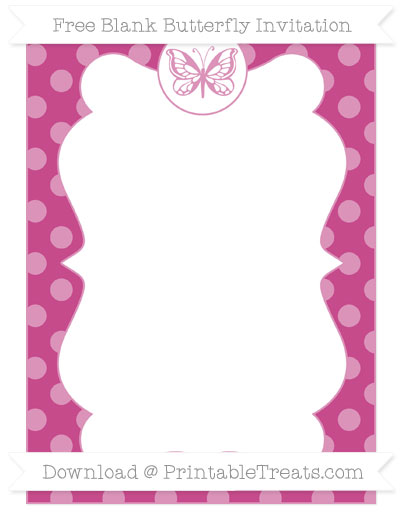 Free Mulberry Purple Dotted Pattern Blank Butterfly Invitation