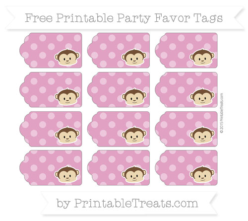 Free Mulberry Purple Dotted Pattern Boy Monkey Party Favor Tags