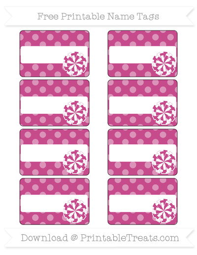 Free Mulberry Purple Dotted Pattern Cheer Pom Pom Tags