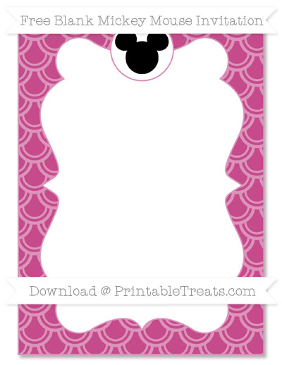 Free Mulberry Purple Fish Scale Pattern Blank Mickey Mouse Invitation