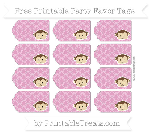 Free Mulberry Purple Fish Scale Pattern Boy Monkey Party Favor Tags