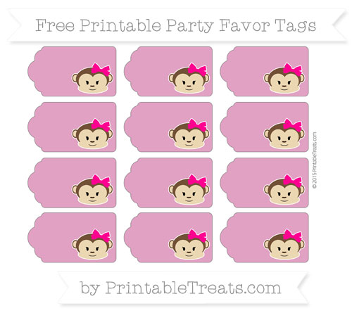 Free Mulberry Purple Girl Monkey Party Favor Tags