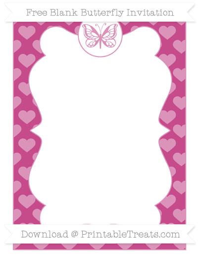 Free Mulberry Purple Heart Pattern Blank Butterfly Invitation