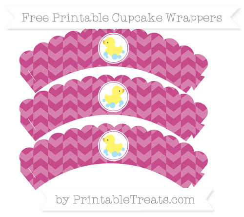 Free Mulberry Purple Herringbone Pattern Baby Duck Scalloped Cupcake Wrappers