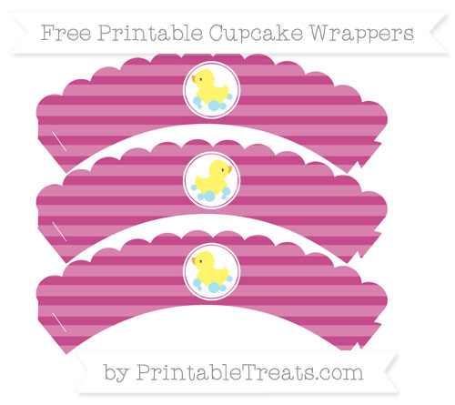 Free Mulberry Purple Horizontal Striped Baby Duck Scalloped Cupcake Wrappers