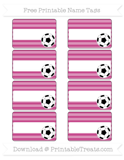 Free Mulberry Purple Horizontal Striped Soccer Name Tags