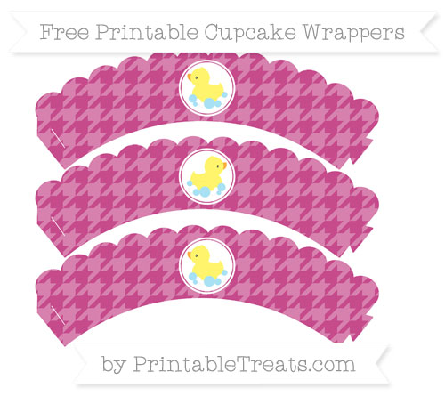Free Mulberry Purple Houndstooth Pattern Baby Duck Scalloped Cupcake Wrappers