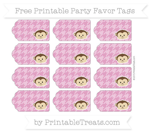 Free Mulberry Purple Houndstooth Pattern Boy Monkey Party Favor Tags