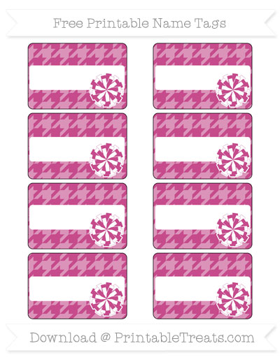 Free Mulberry Purple Houndstooth Pattern Cheer Pom Pom Tags