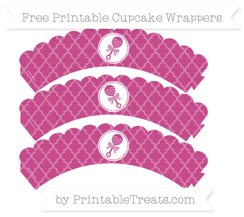 Free Mulberry Purple Moroccan Tile Baby Rattle Scalloped Cupcake Wrappers