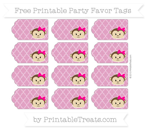 Free Mulberry Purple Moroccan Tile Girl Monkey Party Favor Tags