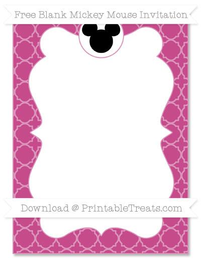 Free Mulberry Purple Quatrefoil Pattern Blank Mickey Mouse Invitation