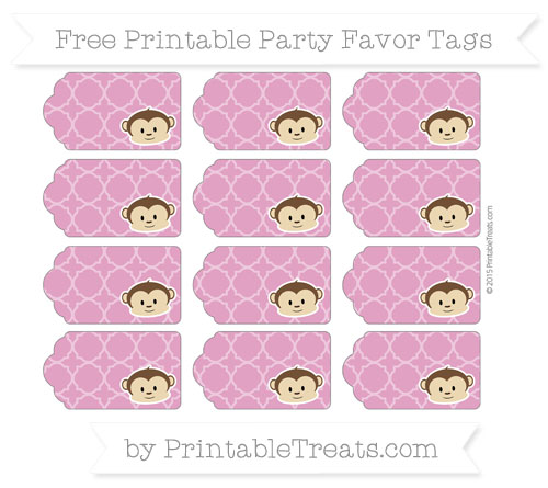 Free Mulberry Purple Quatrefoil Pattern Boy Monkey Party Favor Tags