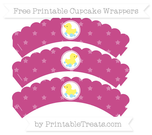 Free Mulberry Purple Star Pattern Baby Duck Scalloped Cupcake Wrappers