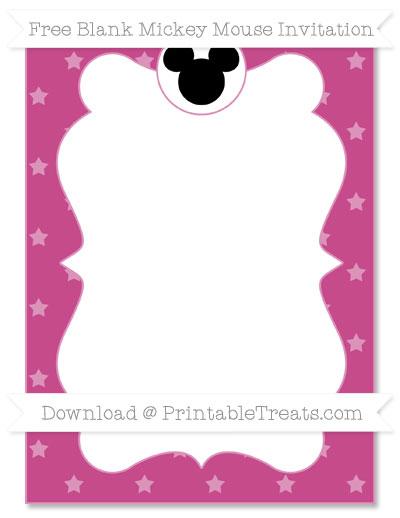 Free Mulberry Purple Star Pattern Blank Mickey Mouse Invitation