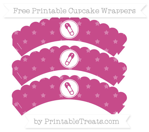 Free Mulberry Purple Star Pattern Diaper Pin Scalloped Cupcake Wrappers