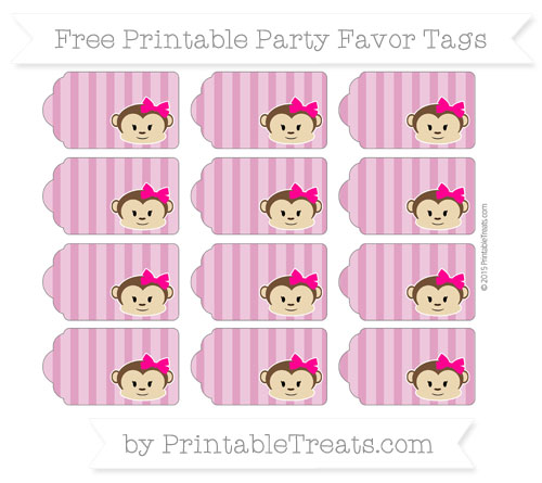 Free Mulberry Purple Striped Girl Monkey Party Favor Tags