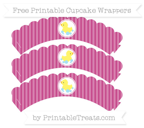 Free Mulberry Purple Thin Striped Pattern Baby Duck Scalloped Cupcake Wrappers