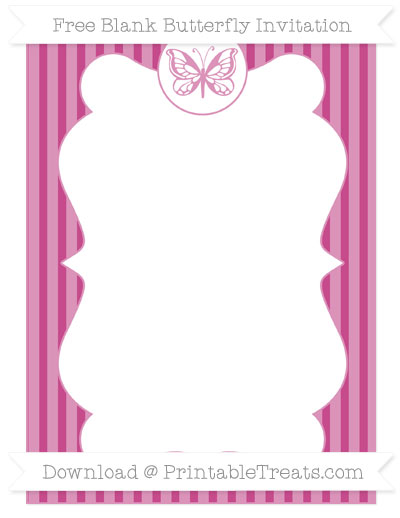 Free Mulberry Purple Thin Striped Pattern Blank Butterfly Invitation