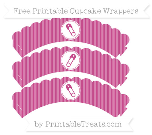 Free Mulberry Purple Thin Striped Pattern Diaper Pin Scalloped Cupcake Wrappers