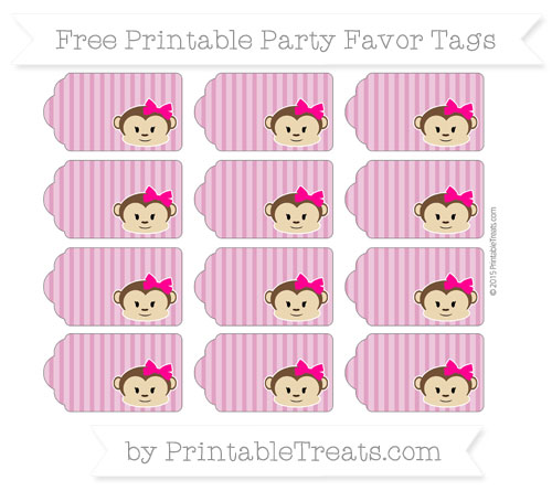 Free Mulberry Purple Thin Striped Pattern Girl Monkey Party Favor Tags
