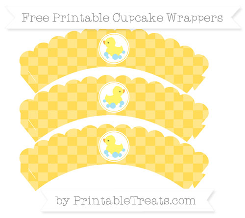 Free Mustard Yellow Checker Pattern Baby Duck Scalloped Cupcake Wrappers