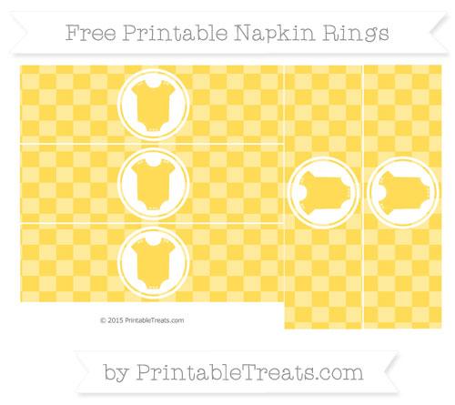 Free Mustard Yellow Checker Pattern Baby Onesie Napkin Rings