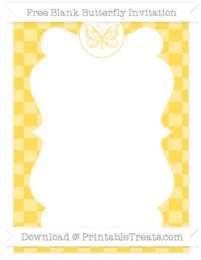 Free Mustard Yellow Checker Pattern Blank Butterfly Invitation
