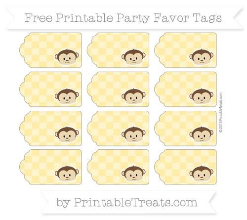 Free Mustard Yellow Checker Pattern Boy Monkey Party Favor Tags