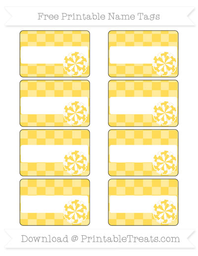 Free Mustard Yellow Checker Pattern Cheer Pom Pom Tags