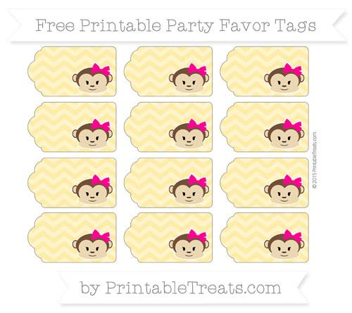 Free Mustard Yellow Chevron Girl Monkey Party Favor Tags