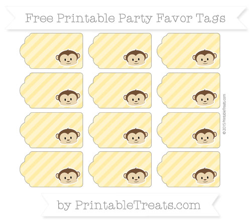 Free Mustard Yellow Diagonal Striped Boy Monkey Party Favor Tags