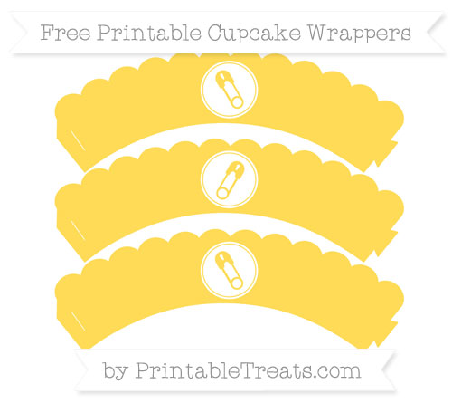 Free Mustard Yellow Diaper Pin Scalloped Cupcake Wrappers