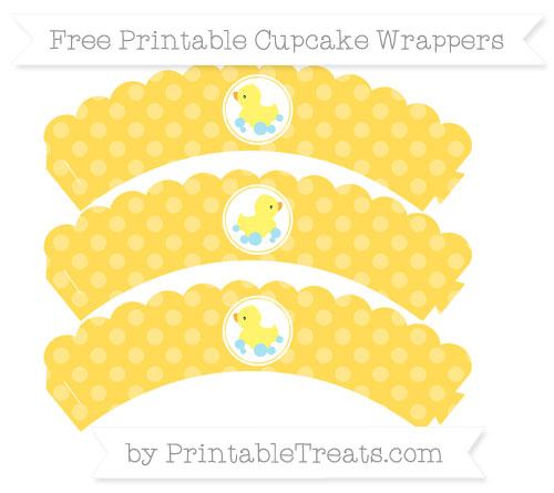 Free Mustard Yellow Dotted Pattern Baby Duck Scalloped Cupcake Wrappers