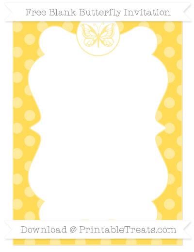 Free Mustard Yellow Dotted Pattern Blank Butterfly Invitation