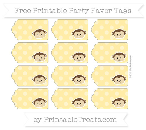 Free Mustard Yellow Dotted Pattern Boy Monkey Party Favor Tags